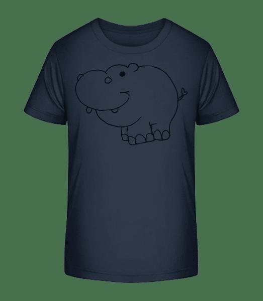 Kinder Comic - Nilpferd - Kinder Premium Bio T-Shirt - Marine - Vorn