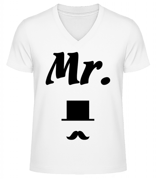 Mr. Wedding - Men's V-Neck Organic T-Shirt - White - Vorn