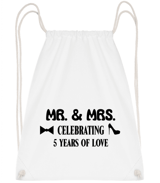 Mr. & Mrs. 5 Years Of Love - Drawstring Backpack - White - Vorn