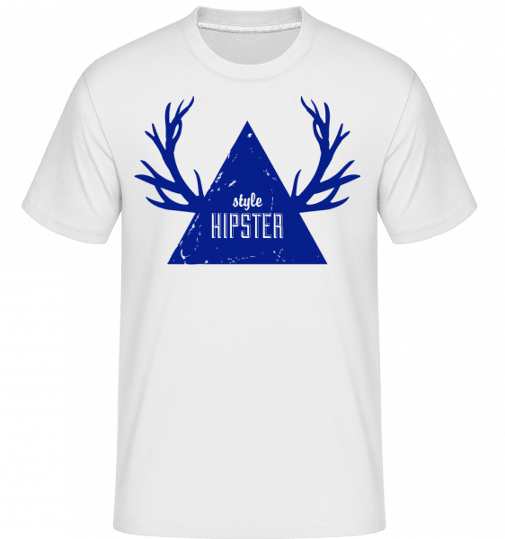 Hipster Triangle Antlers -  Shirtinator Men's T-Shirt - White - Vorn