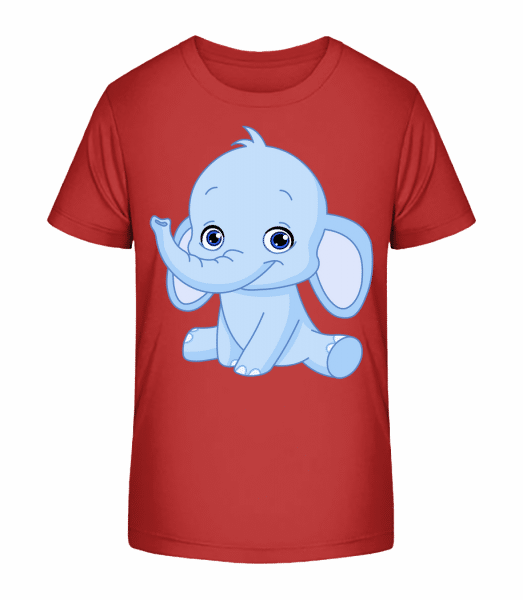 Elefant Comic - Kinder Premium Bio T-Shirt - Kirschrot - Vorn