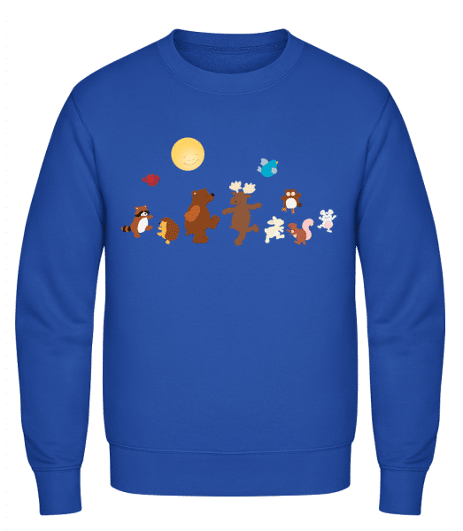 Baby Animal Party - Classic Set-In Sweatshirt - Royal Blue - Vorn