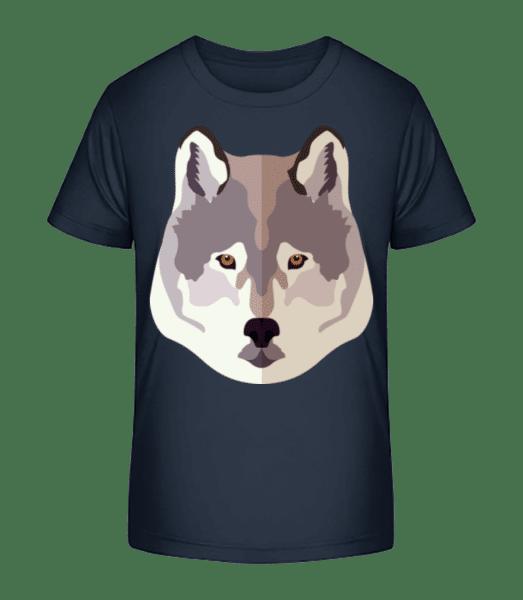Wolf Comic Shadow - Kid's Premium Bio T-Shirt - Navy - Front