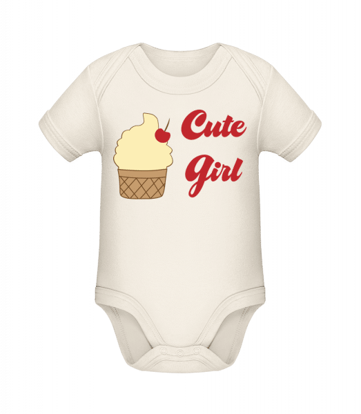 Cute Girl - Baby Girl - Organic Baby Body - Cream - Front