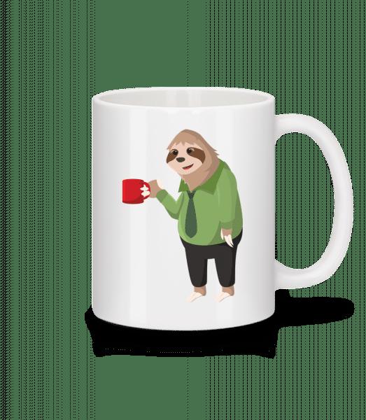 Sloth Drinks Coffee - Mug - White - Vorn