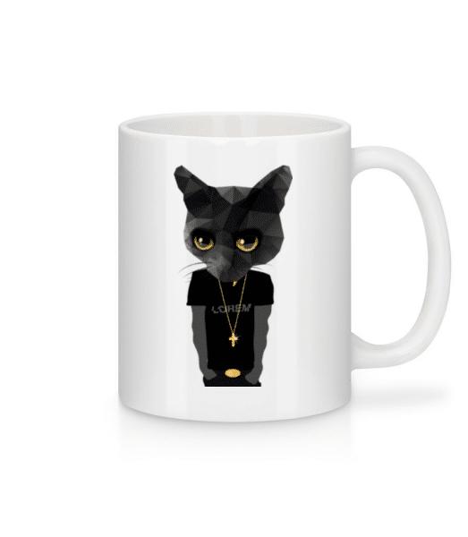 Polygon Gangsta Cat - Mug - White - Front