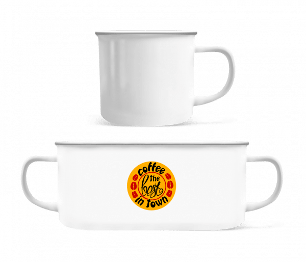 Best Coffee In Town Logo - Enamel-cup - White - Front