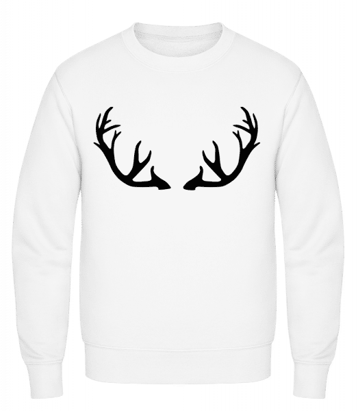 Deer Antlers - Classic Set-In Sweatshirt - White - Vorn