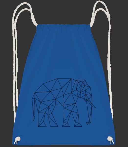 Polygon Elephant - Drawstring Backpack - Royal Blue - Vorn