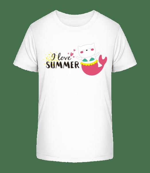 I Love Summer Cat Fish - Kid's Premium Bio T-Shirt - White - Vorn