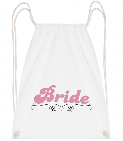 Bride - Drawstring Backpack - White - Vorn