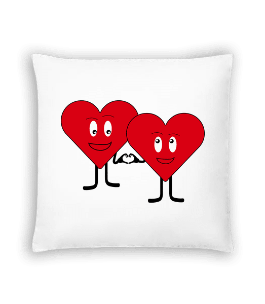 Two Hearts Love Each Other - Cushion - White - Vorn