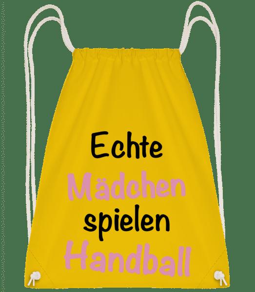 Echte Mädchen Spielen Handball - Turnbeutel - Gelb - Vorn