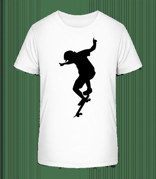 Skater Junge - Kinder Premium Bio T-Shirt - Weiß - Vorn