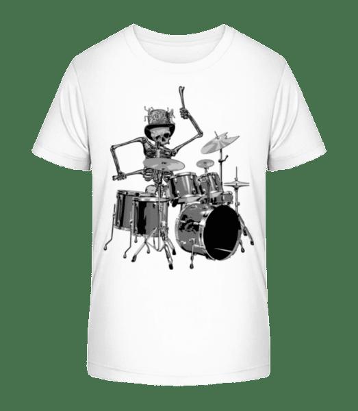 Drum Skeleton - Kid's Premium Bio T-Shirt - White - Vorn