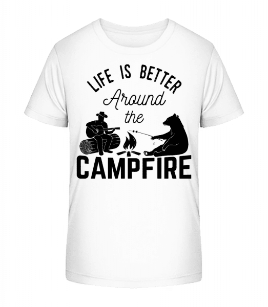 Around The Campfire - Kid's Premium Bio T-Shirt - White - Front