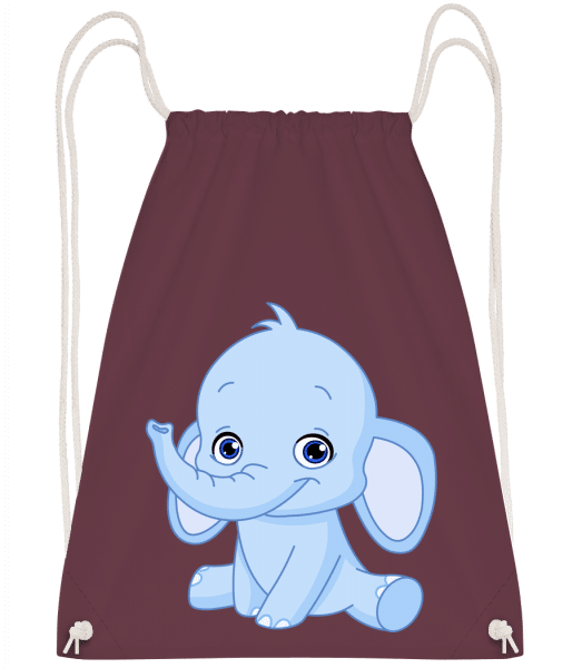 Elephant Comic - Drawstring Backpack - Bordeaux - Vorn