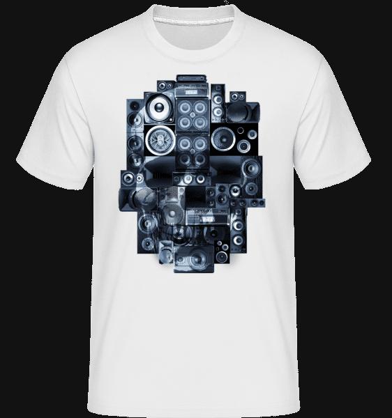 Boombox Skull -  Shirtinator tričko pro pány - Bílá - Napřed