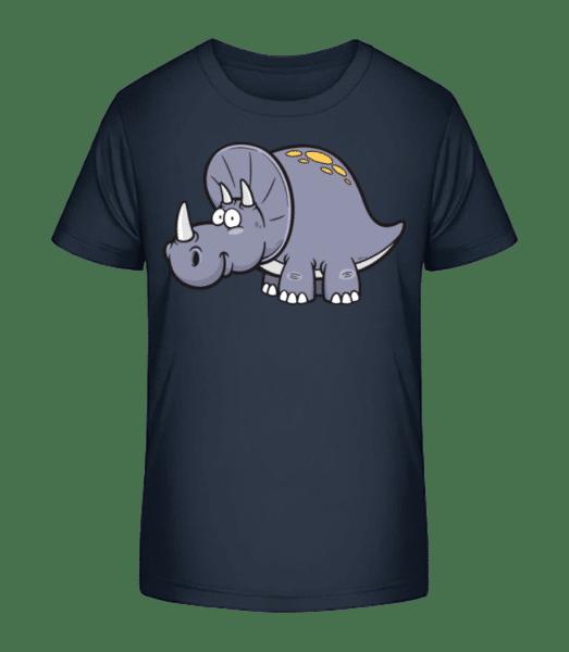 Comic Triceratops - Kinder Premium Bio T-Shirt - Marine - Vorn