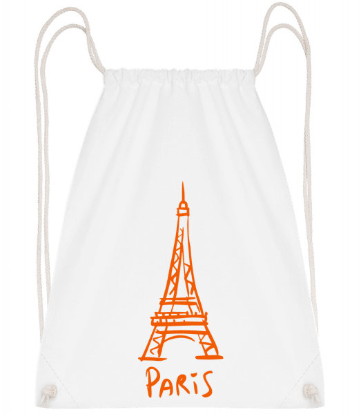 Paris Sign - Drawstring Backpack - White - Vorn