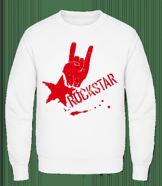 Rockstar Symbol - Classic Set-In Sweatshirt - White - Vorn
