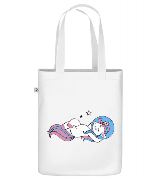 "Astronaut Unicorn - Organic ""Earth Positive"" tote bag - White - Front"
