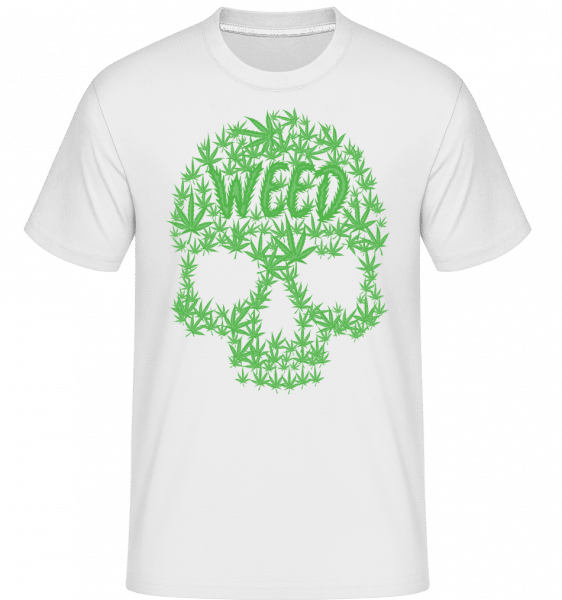 Weed Skull Cannabis -  Shirtinator Men's T-Shirt - White - Vorn