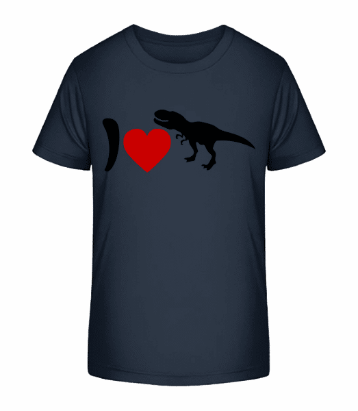 I Love T-Rex - Detské Premium Bio tričko - Namornícka modrá - Predné