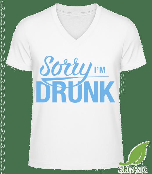 "Sorry I'm Drunk - ""James"" Organic V-Neck T-Shirt - White - Vorn"