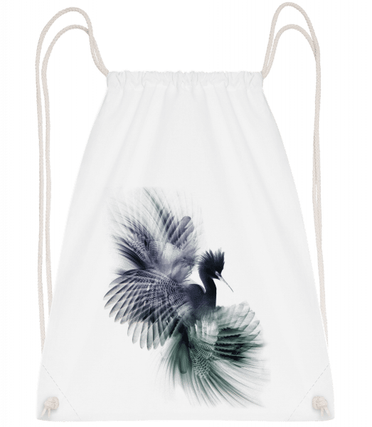 Fantasy Bird - Drawstring Backpack - White - Vorn