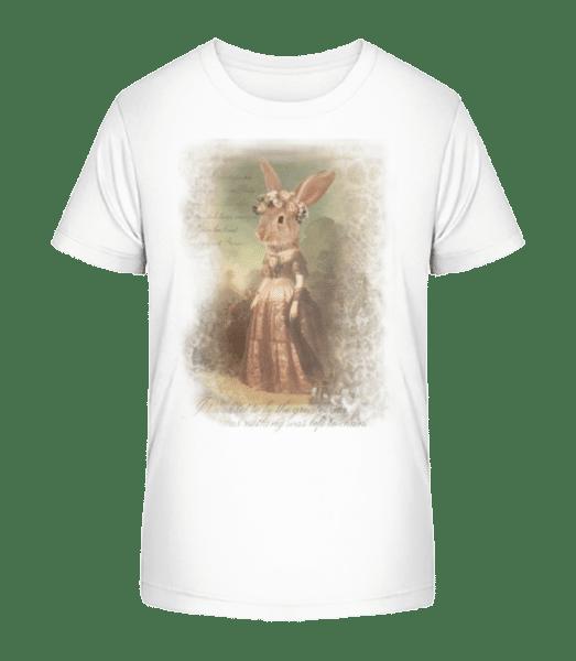Gemälde Häschen - Kinder Premium Bio T-Shirt - Weiß - Vorn