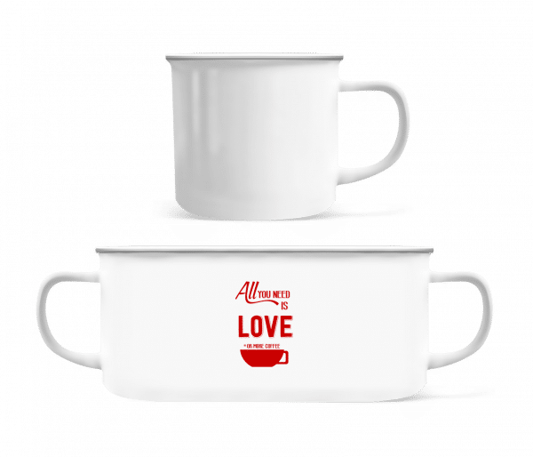 Love Or More Coffee - Enamel-cup - White - Vorn