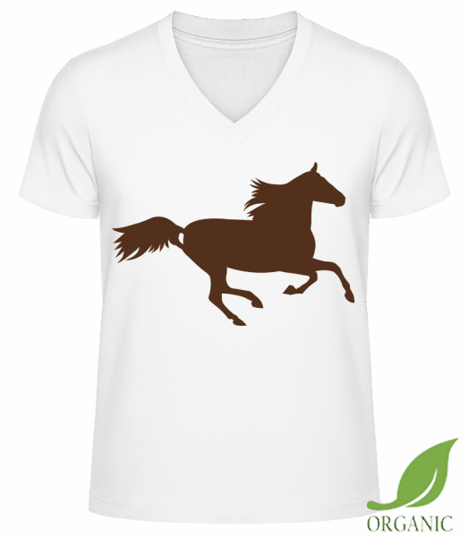 "Horse - ""James"" Organic V-Neck T-Shirt - White - Vorn"