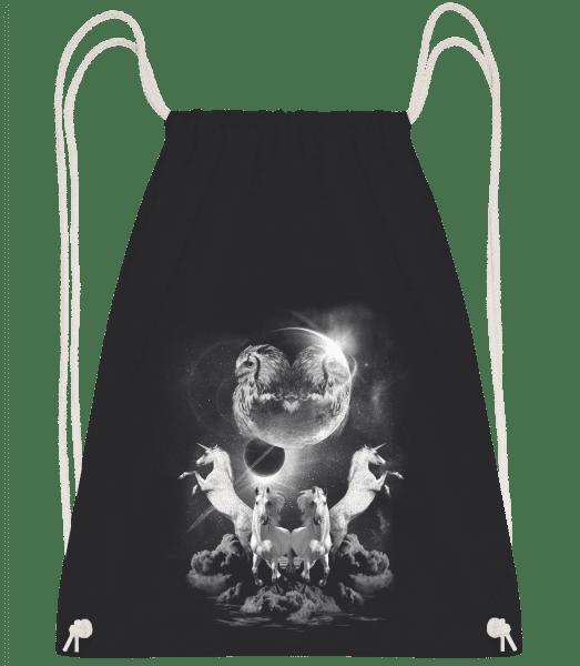 Mystic Unicorn Night - Drawstring Backpack - Black - Vorn