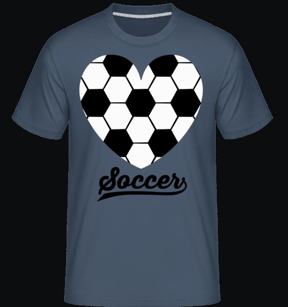 Soccer Logo Heart -  Shirtinator Men's T-Shirt - Denim - Vorn