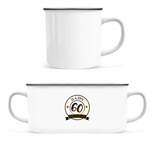 Happy Birthday 60 - Emaille-Tasse - Weiß - Vorn