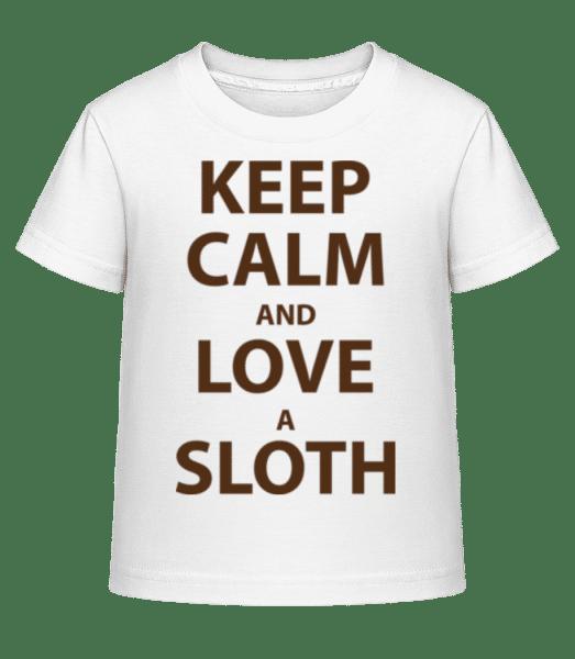 Keep Calm And Love A Sloth - Dĕtské Shirtinator tričko - Bílá - Napřed