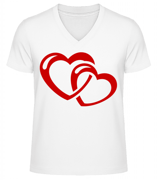 Hearts Icon Red - Men's V-Neck Organic T-Shirt - White - Vorn