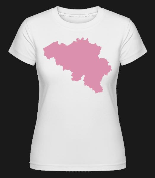 Belgie Silhouette Pink -  Shirtinator tričko pro dámy - Bílá - Napřed