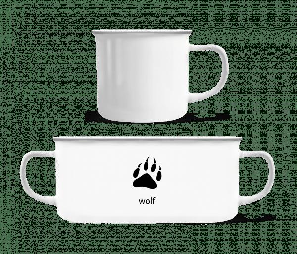 wolf Paw - Emaille hrnek - Bílá - Napřed