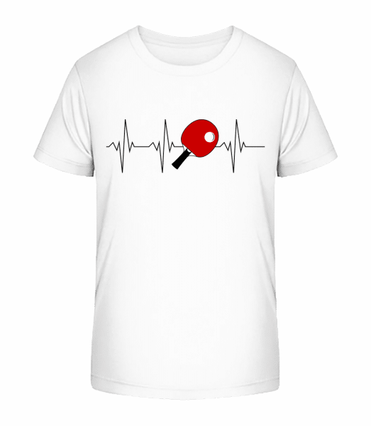 Table Tennis Heartbeat - Kid's Premium Bio T-Shirt - White - Vorn