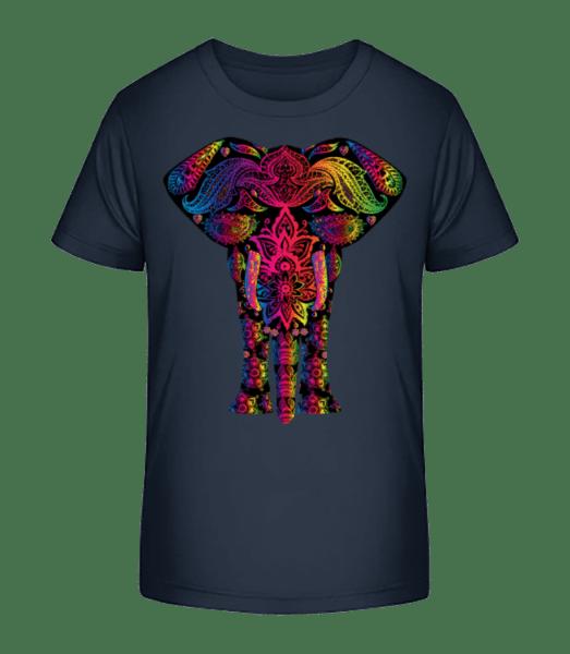 Bunter Elefant - Kinder Premium Bio T-Shirt - Marine - Vorn