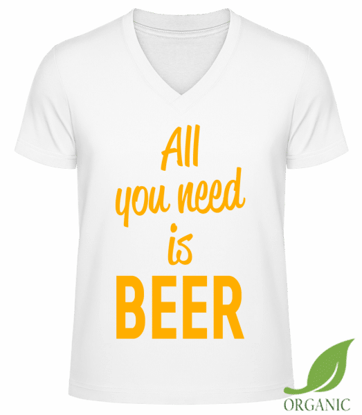 """All You Need Is Beer - """"James"""" Organic V-Neck T-Shirt - White - Vorn"""