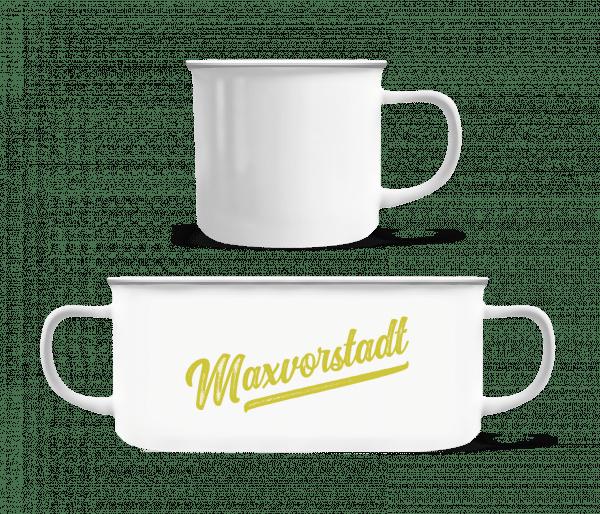 Maxvorstadt Swoosh - Emaille-Tasse - Weiß - Vorn
