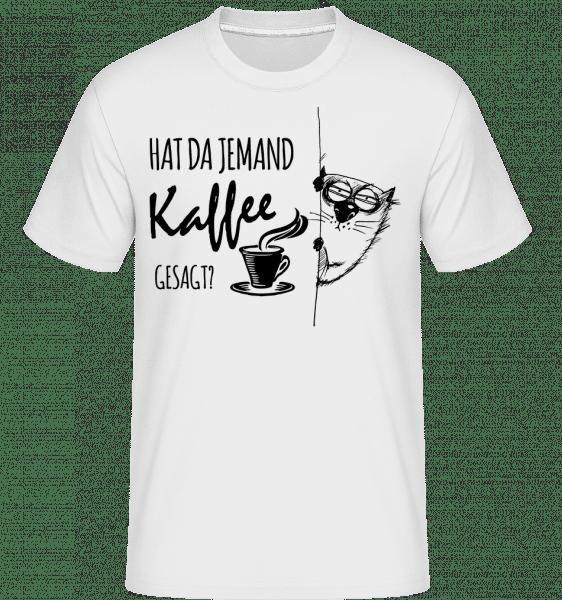 Kaffee Katze - Shirtinator Männer T-Shirt - Weiß - Vorn