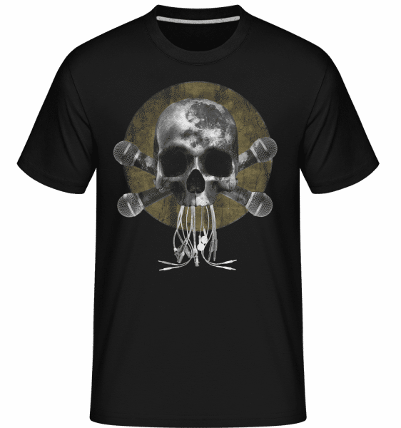 Skull With Microphones -  Shirtinator Men's T-Shirt - Black - Vorn