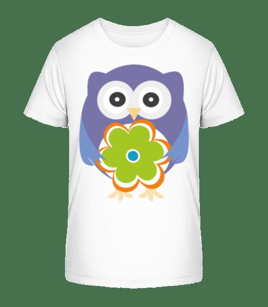 Cute Owl With Flower - Kid's Premium Bio T-Shirt - White - Vorn
