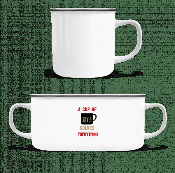 A Cup Of Coffee - Emaille-Tasse - Weiß - Vorn