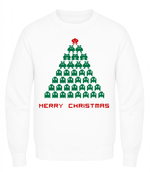 Merry Christmas Pixel Monster - Men's Sweatshirt AWDis - White - Vorn
