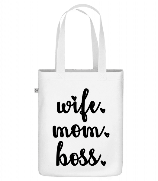 "Wife Mom Boss - Organic ""Earth Positive"" tote bag - White - Vorn"